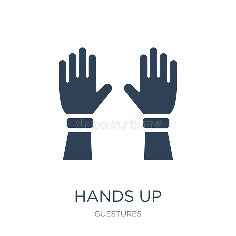 mains vers le haut d'icône dans le style à la mode de conception mains vers le haut de l'icône d'isolement sur le fond blanc main illustration de vecteur