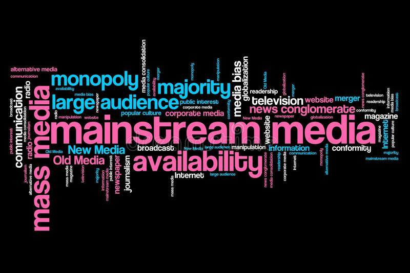 Mainstream media. Issues and concepts word cloud illustration. Word collage concept vector illustration