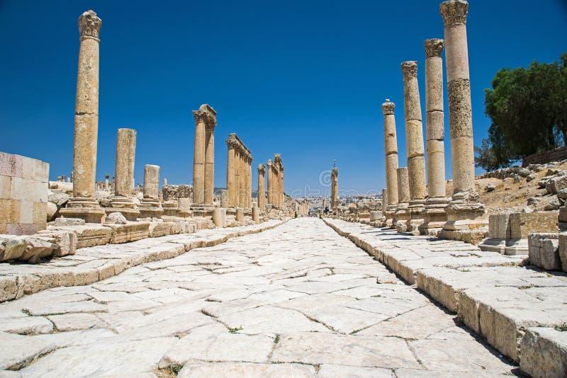 Mainstreet `cardo maximus` in the ruin Jerash, Jordan royalty free stock photo
