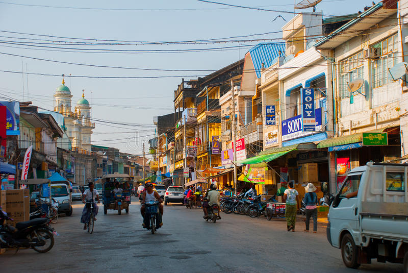 The mainstreet of Mawlamyine, Myanmar, with the beautiful mosque. Myanmar. Burma. royalty free stock image