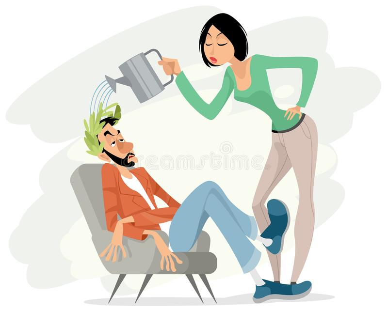 Maintaining high self-esteem vector illustration