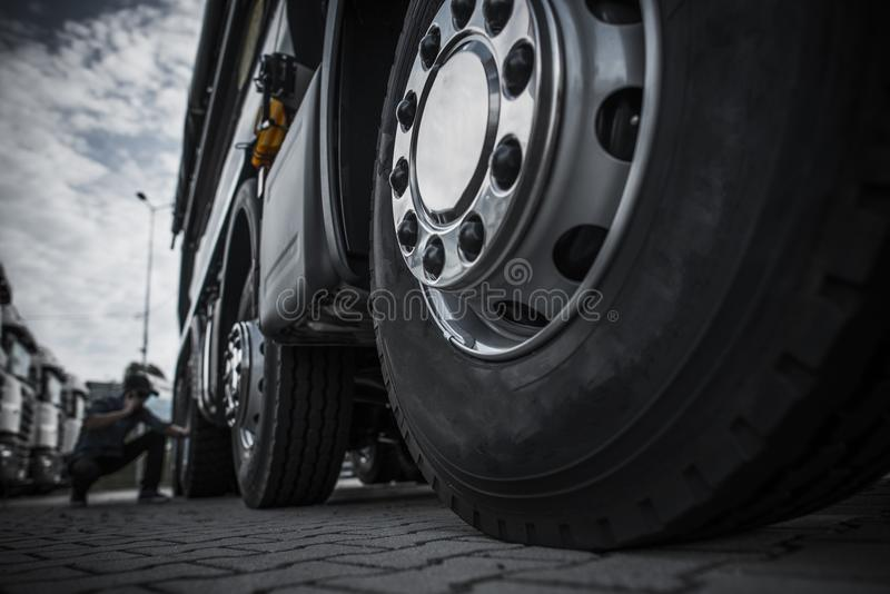 Maintaining Semi Truck Tires royalty free stock image