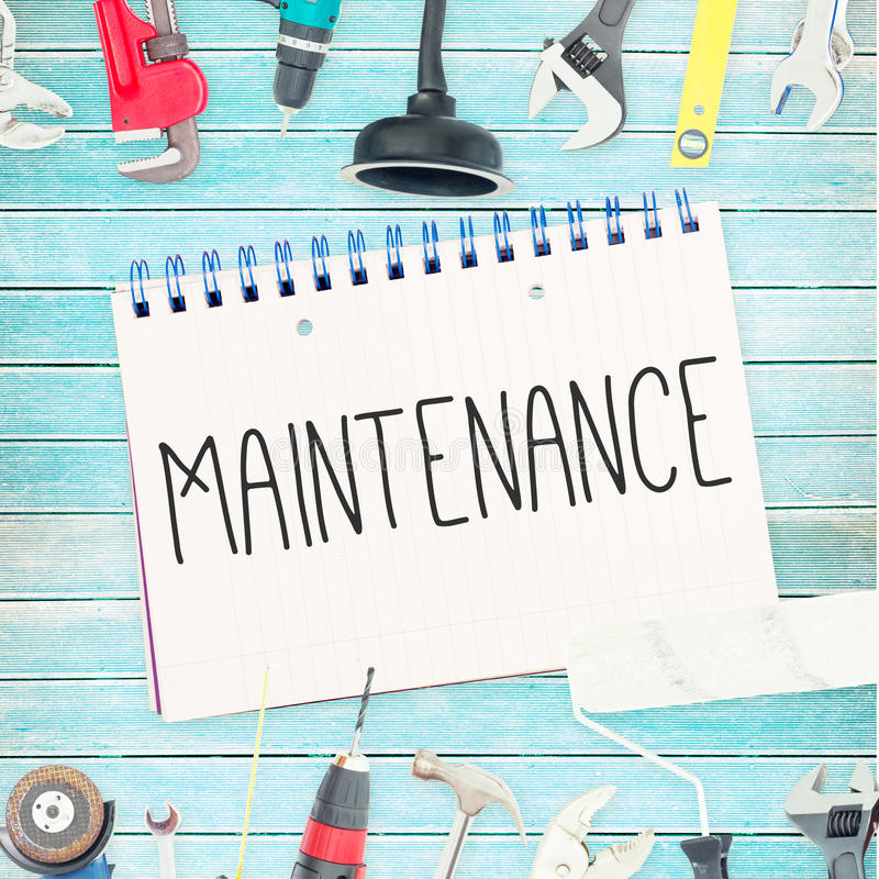 Maintenance against tools and notepad on wooden background vector illustration