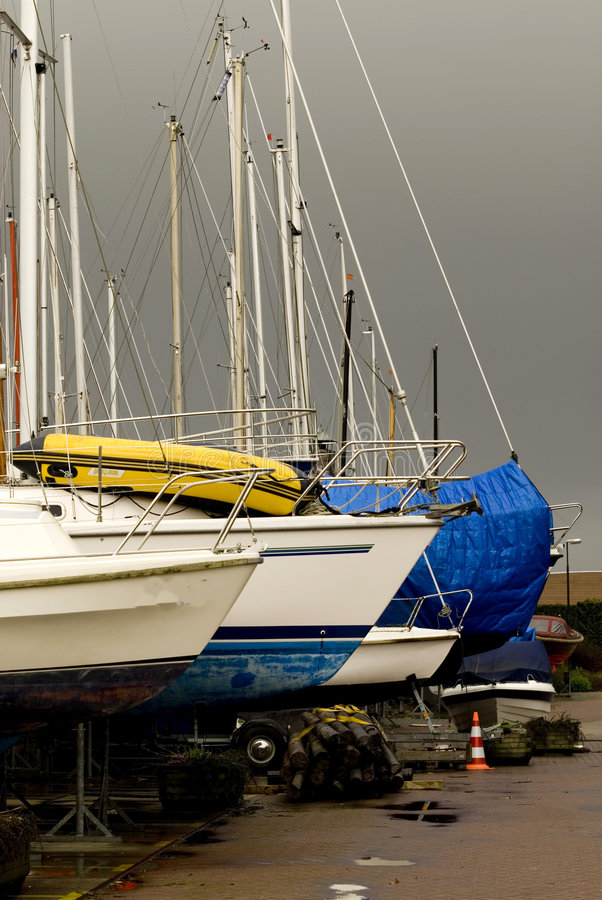 Maintenance the boat. Yachts out of the water for maintenance and so on stock photography