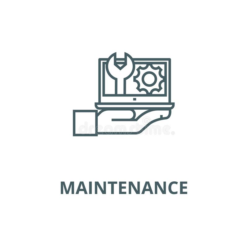 Maintenance, computer support vector line icon, linear concept, outline sign, symbol stock illustration