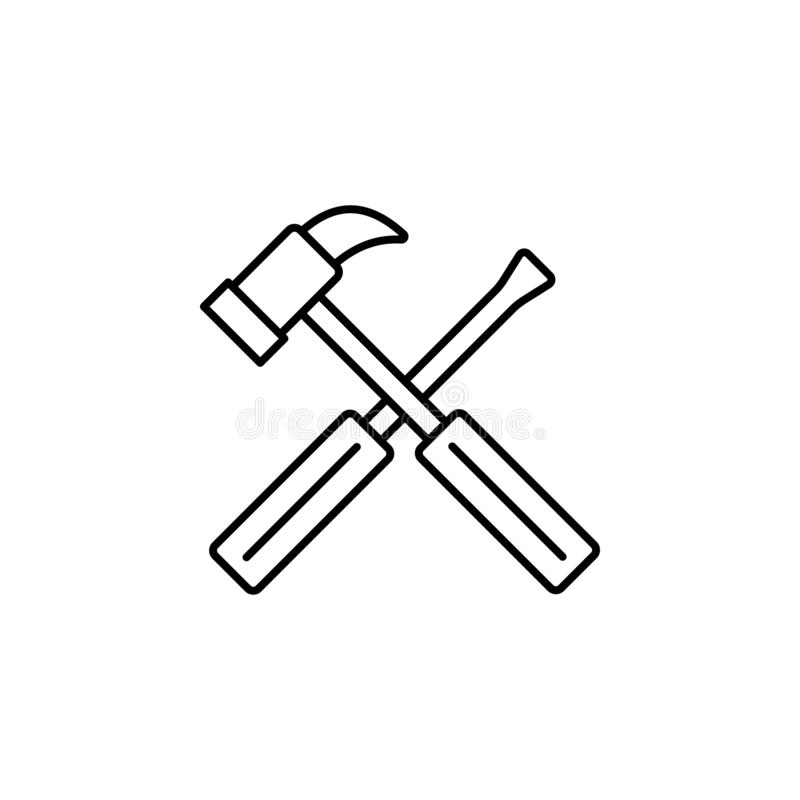 Maintenance, constriction tools icon. Simple thin line, outline vector of Real Estate icons for UI and UX, website or mobile. Application on white background royalty free illustration