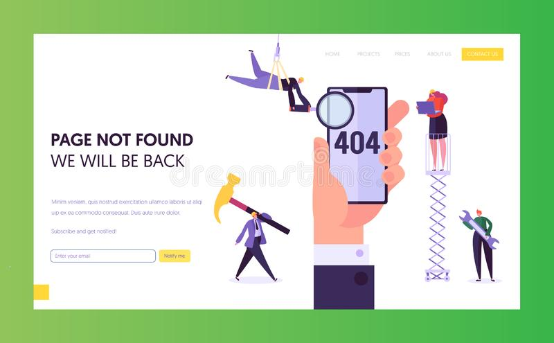 404 Maintenance Error Landing Page Template. Page Not Found Under Construction Concept with Characters Fixing Problem. 404 Maintenance Error Landing Page royalty free illustration