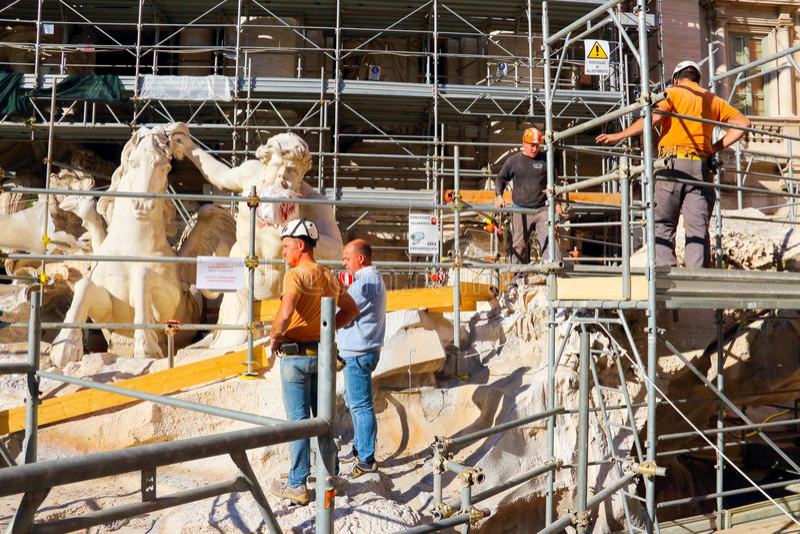 Maintenance of Fontana di Trevi royalty free stock images