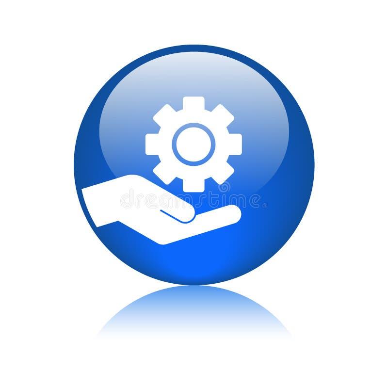 Maintenance hand gear button stock illustration