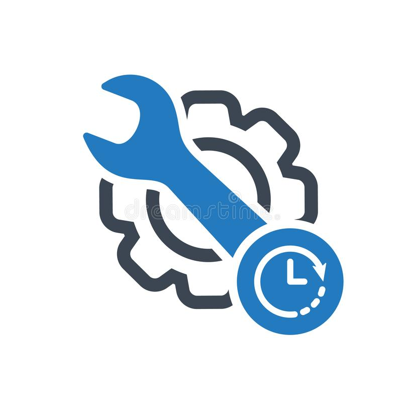 Maintenance icon with clock sign. Maintenance icon and countdown, deadline, schedule, planning symbol stock illustration