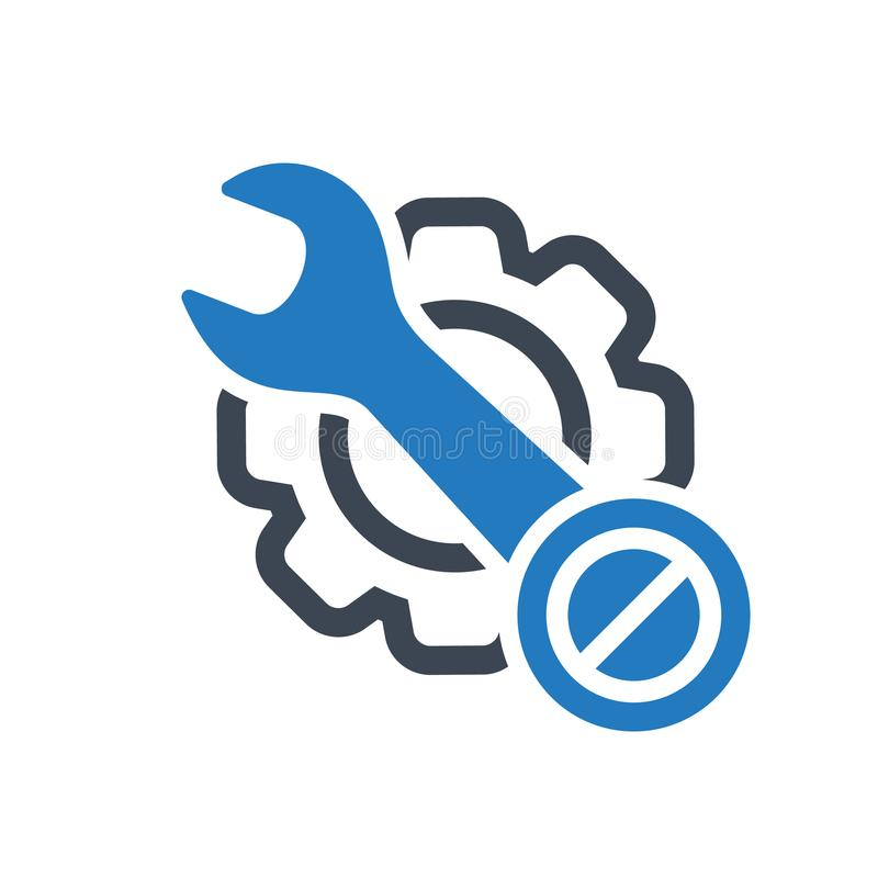 Maintenance icon with not allowed sign. Maintenance icon and block, forbidden, prohibit symbol royalty free illustration