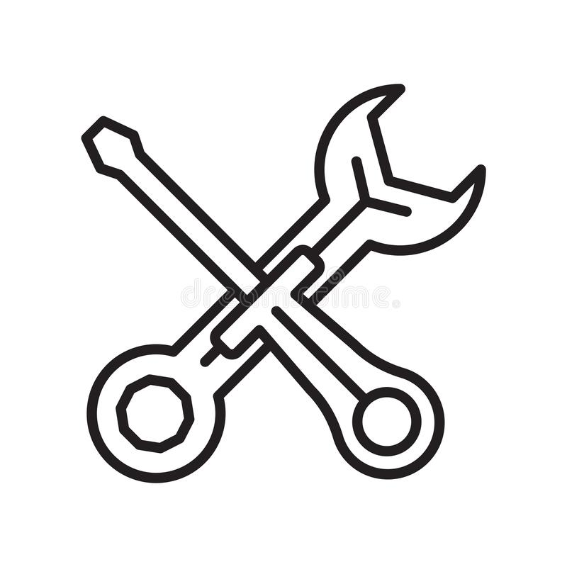 Maintenance icon vector sign and symbol isolated on white background, Maintenance logo concept royalty free illustration