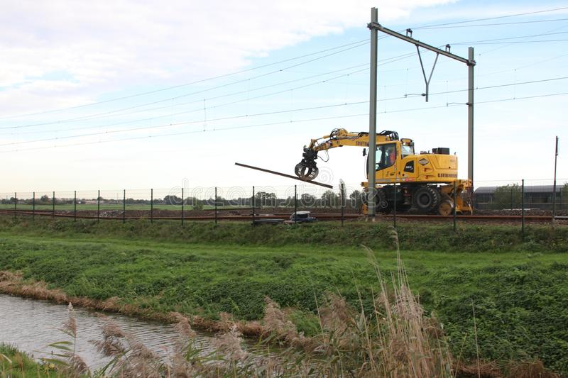 Maintenance on the railroadtracks between Gouda and Rotterdam at Nieuwerkerk aan den IJssel royalty free stock photos