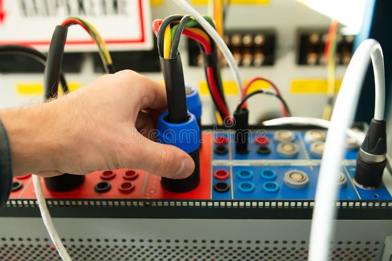 Maintenance relay protections by electric testing device. Test tool for engineering protection royalty free stock image