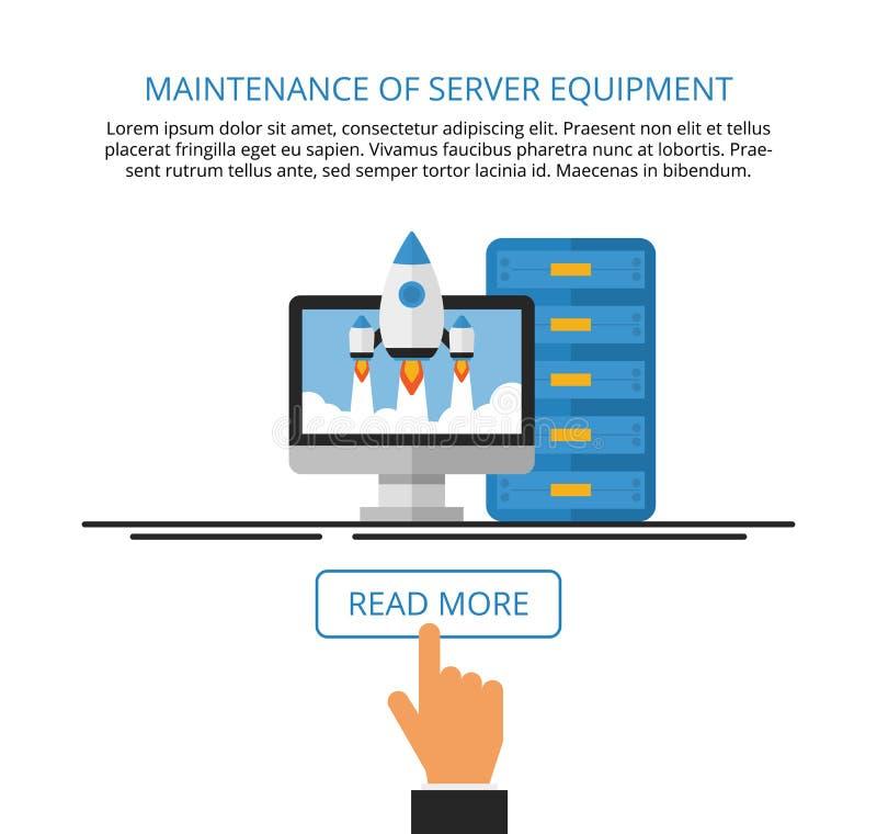 Maintenance of server equipment. Computer services. Landing page. Vector flat illustration stock illustration