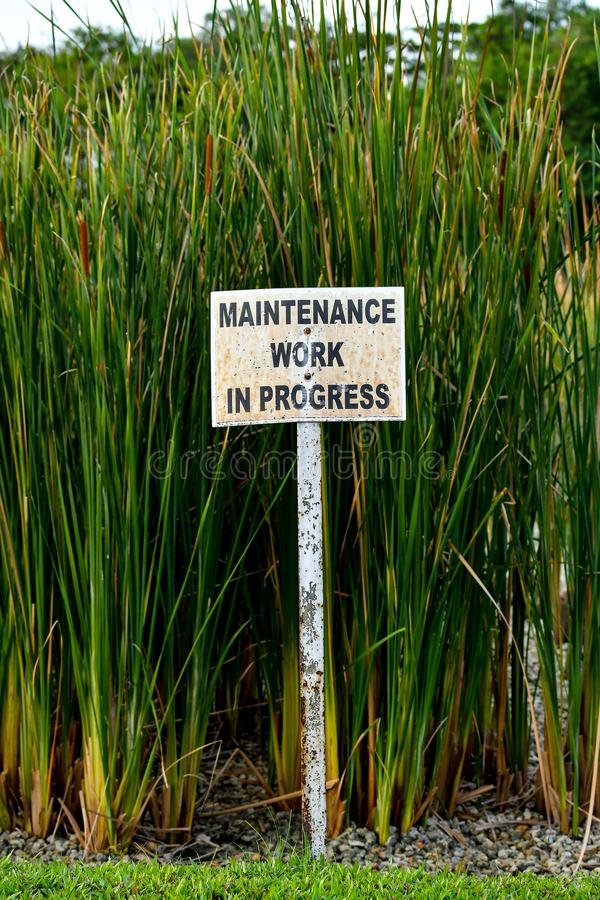 Maintenance work in progress sign board royalty free stock image