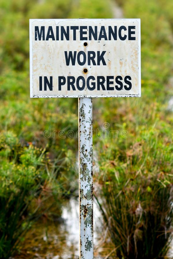 Maintenance work in progress sign board royalty free stock photos