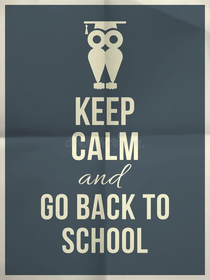 Maintenez calme et de nouveau à la citation typographique de conception d'école avec le hibou illustration libre de droits