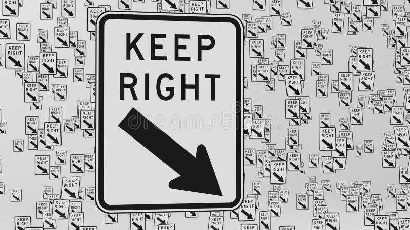 Maintenez la bonne signalisation flotter dans l'espace blanc vide illustration libre de droits