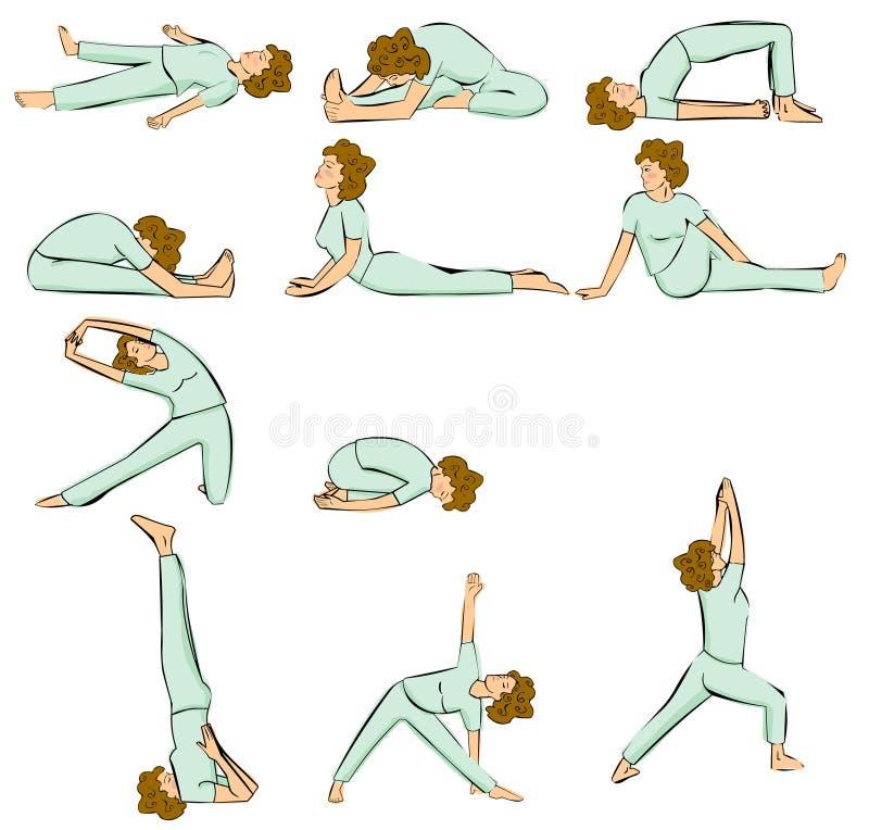 Maintiens de yoga illustration de vecteur