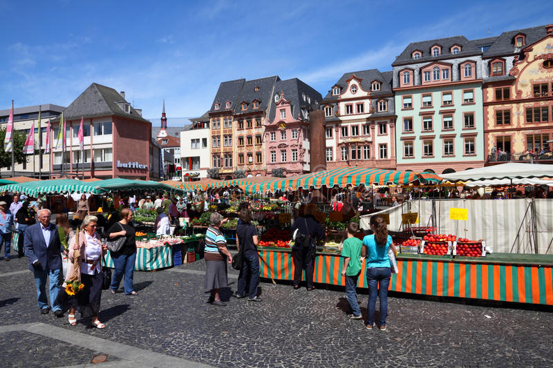 Mainz, Germany. JULY 19: Tourists stroll on July 19, 2011 in . According to its Tourism Office, the town has up to 800,000 overnight visitor stays annually royalty free stock photo