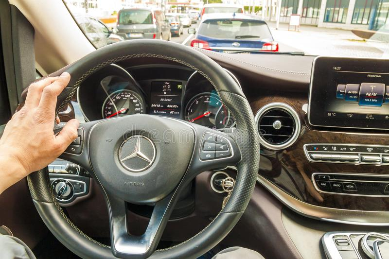 Mainz, Germany - November 12, 2017: Driver behind the wheel of m. Odern expensive Mercedes Benz car stock photos