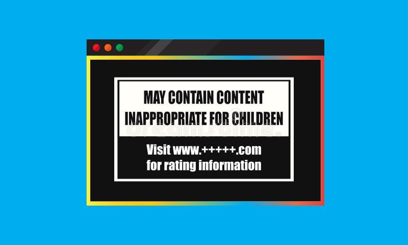 maio contém o índice impróprio para a bandeira das crianças ilustração do vetor