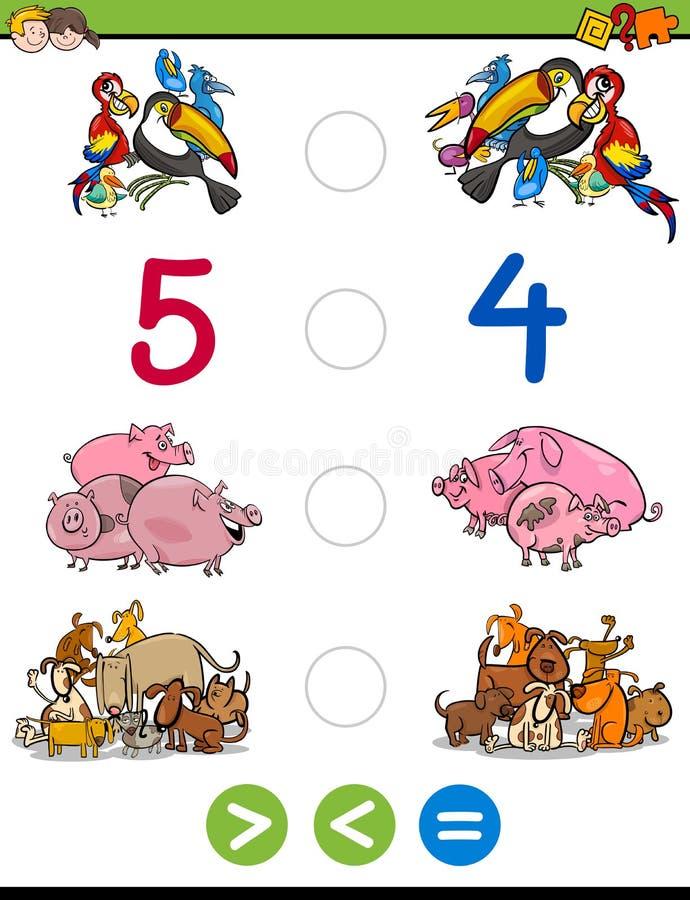 Maior menos ou jogo igual ilustração do vetor