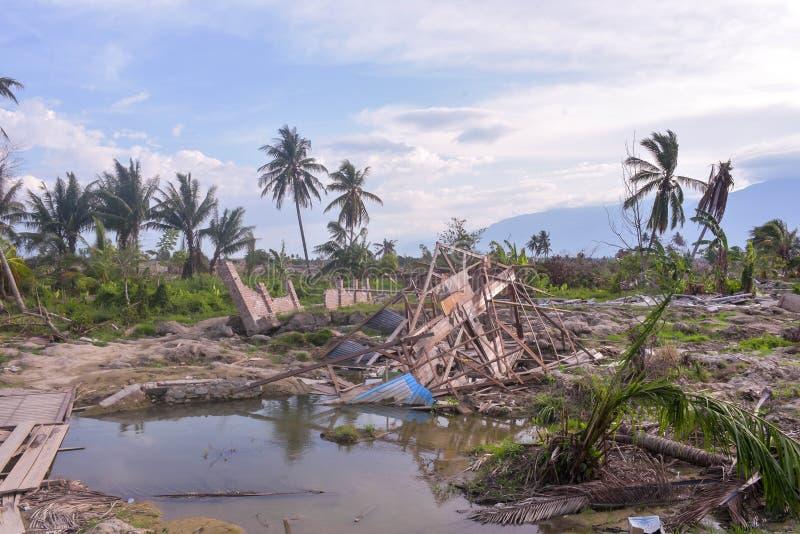 A maioria de liquefação severa Petobo Sulawesi central do terremoto de dano imagens de stock royalty free