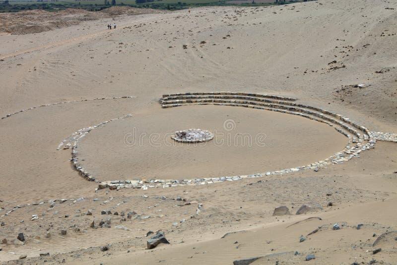 A maioria de local arqueológico proeminente, Caral, Peru imagens de stock