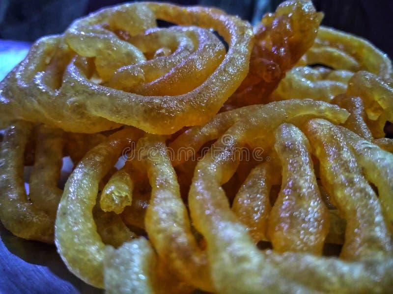 A maioria de prato doce popular na Índia conhecida como Jalebi fotografia de stock