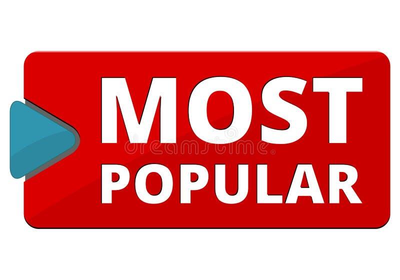 A maioria de sinal popular, botão, ícone ilustração stock