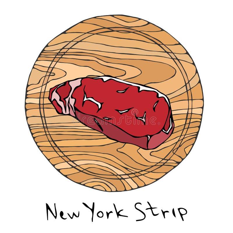 A maioria de tira popular de New York do bife em uma placa de corte de madeira redonda Corte da carne Guia da carne para o carnic ilustração do vetor