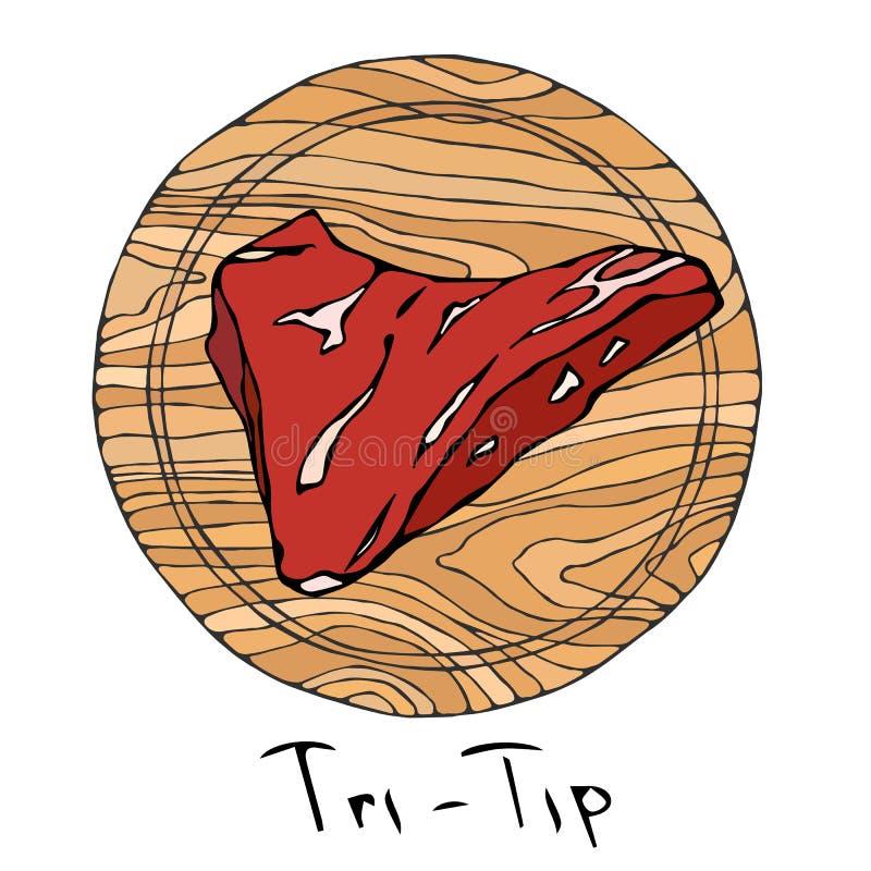 A maioria de Tri ponta popular do bife em uma placa de corte de madeira redonda Corte da carne Guia da carne para o carniceiro Sh ilustração do vetor
