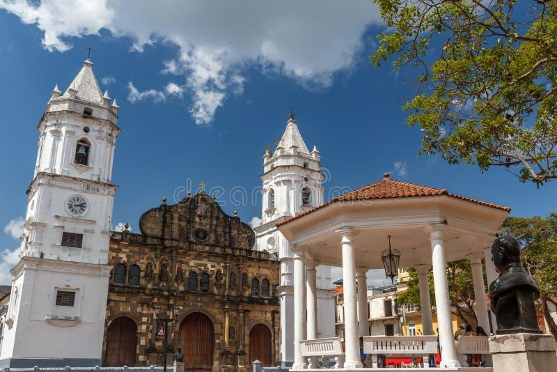 Maire de plaza de place principale de la vieille partie de Panamá City photo stock
