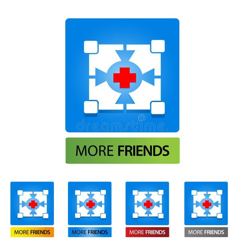 Mais botões do estoque do amigo Ilustra??o do vetor no fundo branco Vetor ilustração stock
