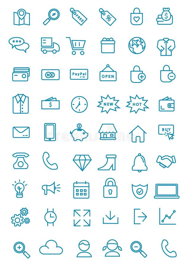 Mais de cinqüênta alinham a Web, o escritório, e o bloco do ícone do negócio ilustração do vetor
