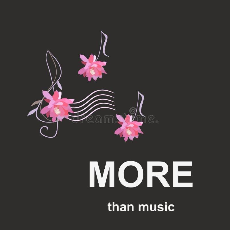 Mais do que a música Bandeira com clave de sol e notas musicais na forma das flores cor-de-rosa do cacto isoladas no fundo preto  ilustração royalty free