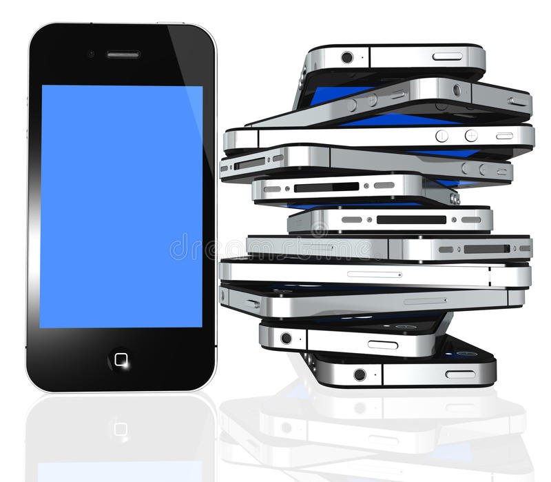Mais iphone 4 isolou-se no branco ilustração do vetor