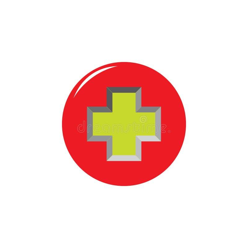 Mais o vetor médico do logotipo do círculo 3d ilustração royalty free