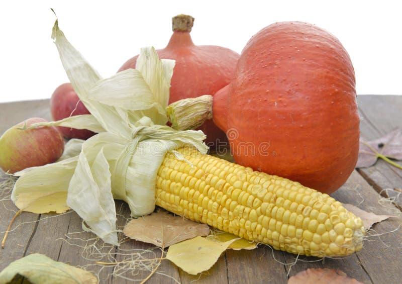 Mais und Kürbise auf einem Holztisch stockbild