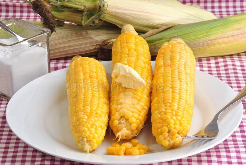 Maiskörner mit Butter und Salz lizenzfreie stockfotos