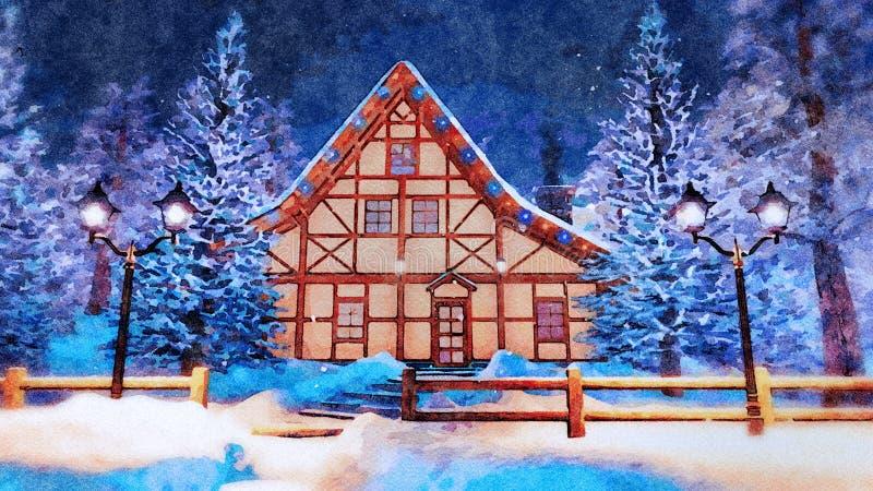 Maison à colombage la nuit hiver dans l'aquarelle illustration stock