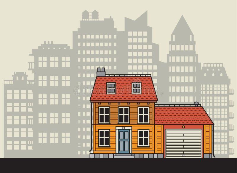 Maison à la ville dans le style plat de conception illustration libre de droits