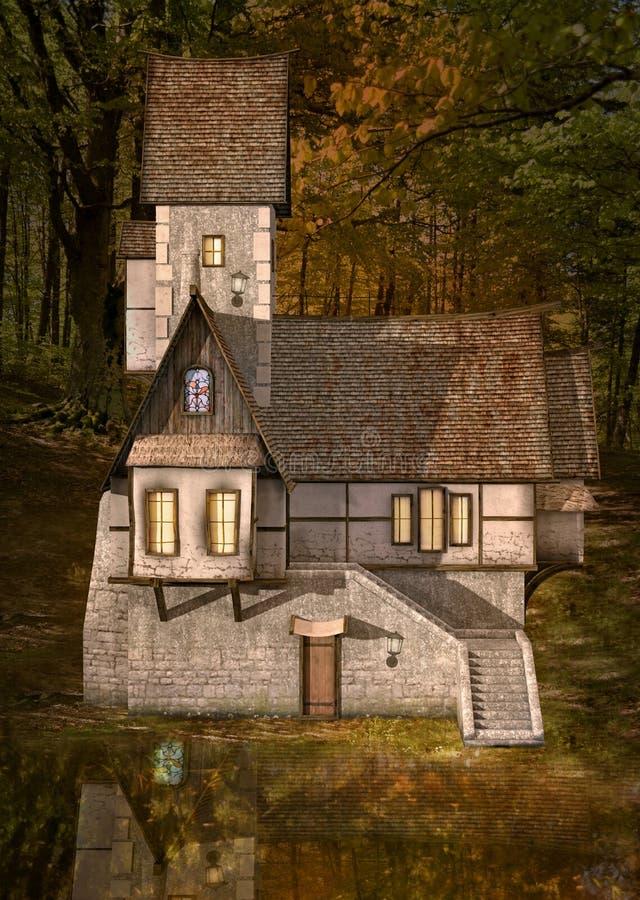 Maison étrange au milieu de la forêt illustration libre de droits