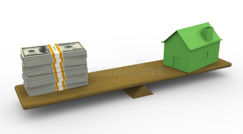 maison 3d et dollar sur l'échelle illustration de vecteur