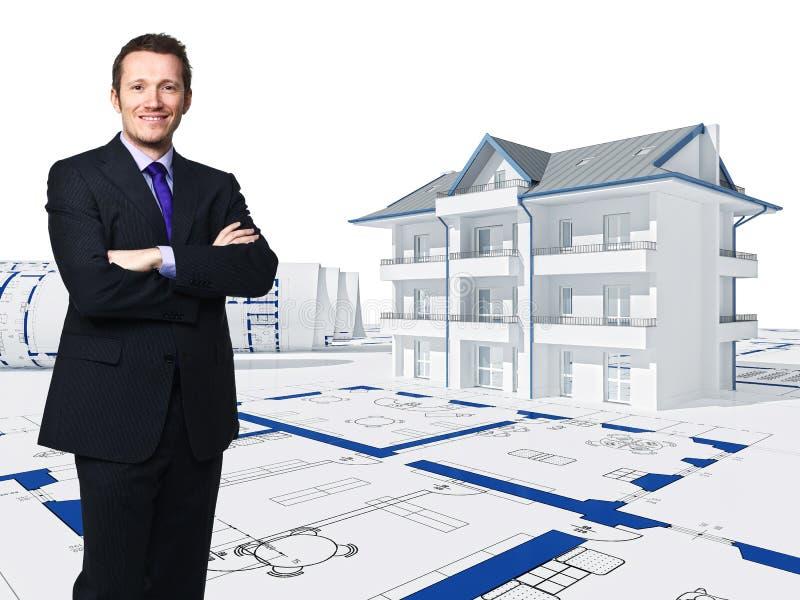 maison 3d et ouvrier illustration de vecteur