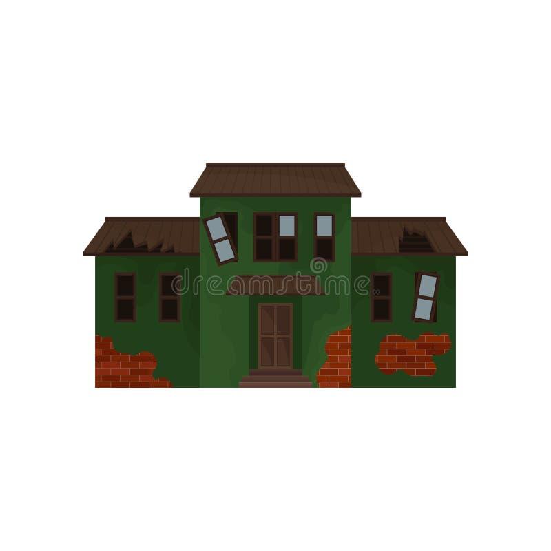 Maison abandonnée de brique avec la peinture de épluchage verte, les fenêtres cassées et le toit Vieille maison Façade de cottage illustration libre de droits