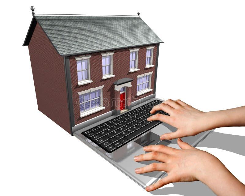 Maison-achat sur l'Internet illustration libre de droits