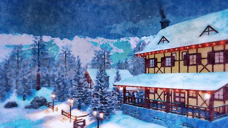 Maison alpine de montagne à l'aquarelle de nuit d'hiver illustration libre de droits